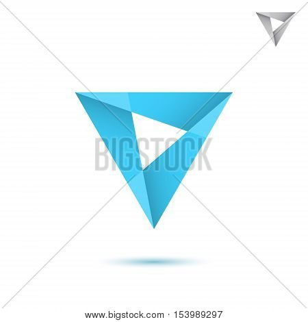 Blue mosaic triangle sign 2d vector illustration isolated on white background eps 10
