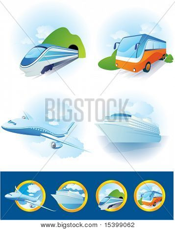 Reisen Sie Transport Icon-Set. Vector.