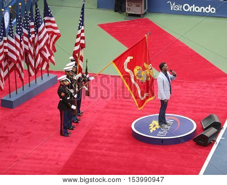 NEW YORK- SEPTEMBER 11, 2016: Tony Award nominated American singer Norm Lewis performing National Anthem during the opening ceremony of the US Open 2016 men's final at Arthur Ashe Stadium in New York