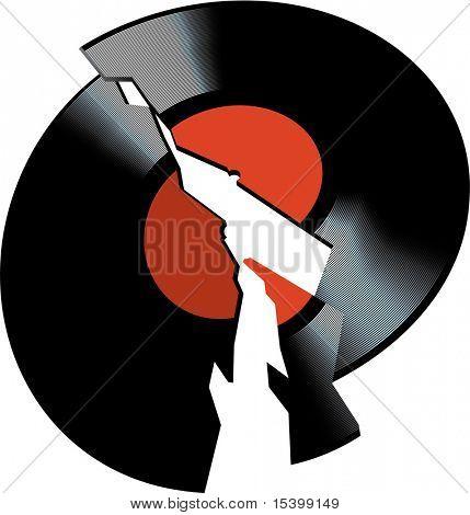 Broken vinyl disk. Vector