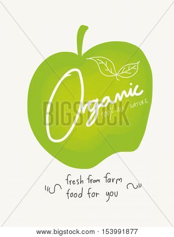 Organic word on green apple watercolor illustration