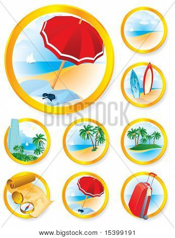 Travel icons set. Luxury. Vector.
