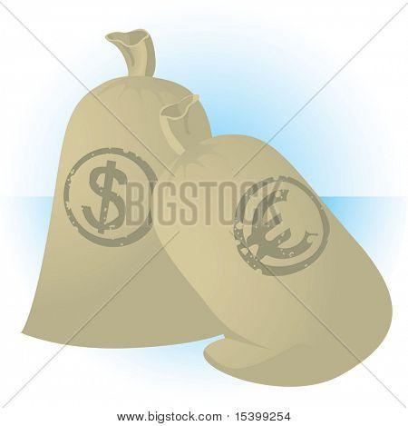 Sacks of money. Vector.