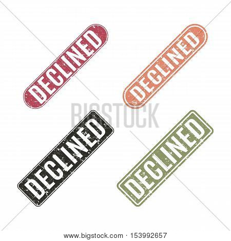 Set of grunge rubber stamps declined isolated on a white background rectangular shape vector illustration.