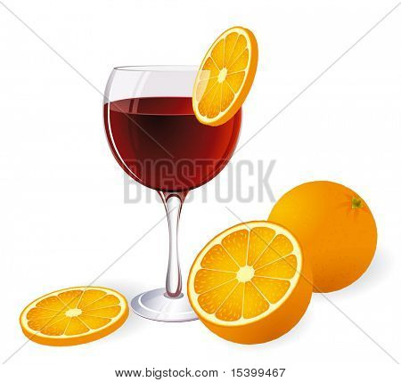 campari and orange. Vector. No blends or gradient meshes used.
