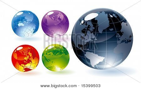 Color glossy globes. Vector.