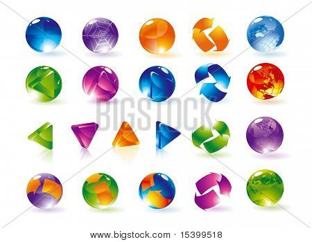 Glossy spheres and arrows. Vector.