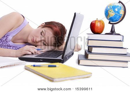 Fall asleep girl done her homework