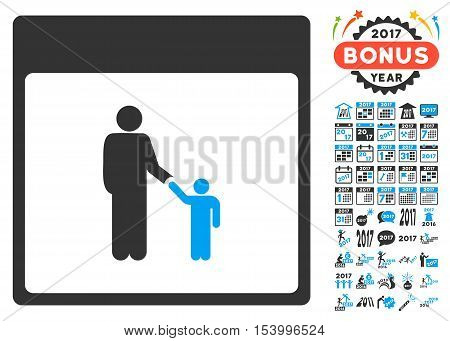 Father Calendar Page pictograph with bonus calendar and time management pictograph collection. Glyph illustration style is flat iconic symbols, blue and gray colors, white background.