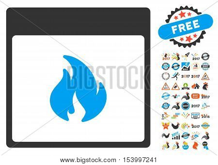Fire Calendar Page pictograph with bonus calendar and time management pictograph collection. Glyph illustration style is flat iconic symbols, blue and gray colors, white background.