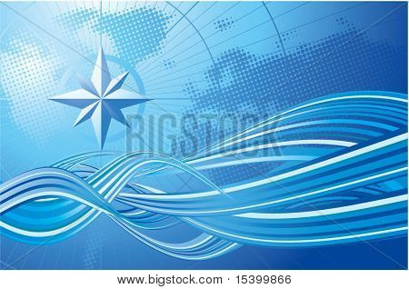 Blue compass. Vector background.