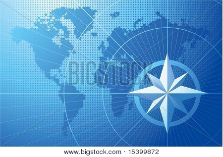 blaue Kompass. Vector Background.