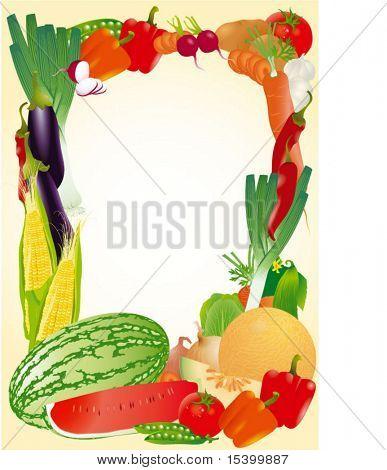 frisches Gemüse Vektor-Frame.