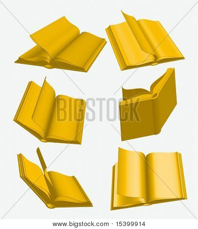 Golden books. Vector.