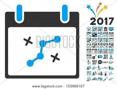 Path Points Calendar Day pictograph with bonus calendar and time management pictograph collection. Glyph illustration style is flat iconic symbols blue and gray colors white background.