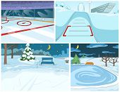 Постер, плакат: Hand drawn vector cartoon set of infrastructure for winter sports and winter landscapes Cartoons of