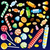 Collection of various motley Candies from Candy Store - detailed vector, all elements grouped, separ