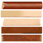 Wooden materials-Planks, Boards, Logs, Panels, Slats - vector timber collection