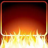 Fire poster with frame for your own text or design. Vector background.