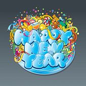 New Year text label- vector design concept. Ice font with large group of separated detailed christma