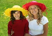 stock photo of mother daughter  - Mother and daughter outdoor - JPG