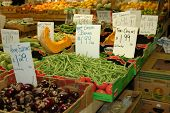 picture of farmers market vegetables  - tables full of vegetables at local farmers market - JPG