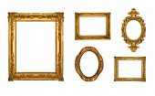 Vintage gold ornate frames, some chipped and rusty