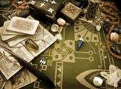 foto of wicca  - Still life with esoteric objects - JPG