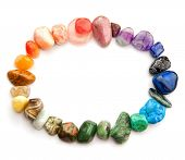 pic of calcite  - Color spectrum of semiprecious gemstones in round border - JPG