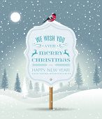Wooden Sign Board With Christmas Greeting On Winter Landscape With Snow-covered Forest And Bullfinch poster