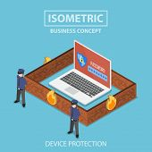 Isometric Laptop Computer Protected By Security System poster