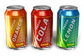 stock photo of cold drink  - Set of refreshing soda drinks in metal cans on white background - JPG
