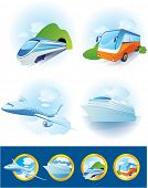 Travel transportation icon set. Vector.