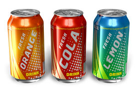 picture of cold drink  - Set of refreshing soda drinks in metal cans on white background - JPG