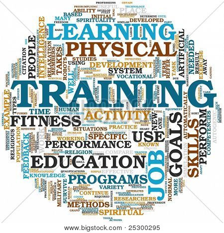 Training end education related words concept in tag cloud