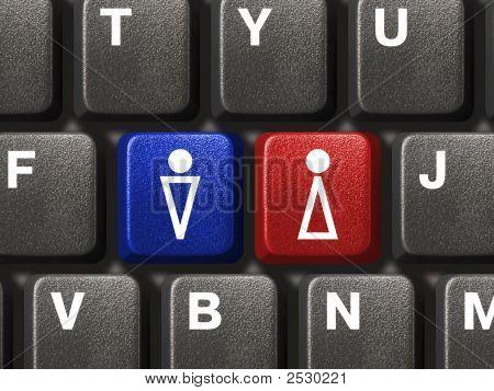 PC-Tastatur mit männlichen und weiblichen Schlüssel