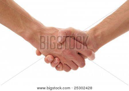 Apretón de manos aislada en blanco