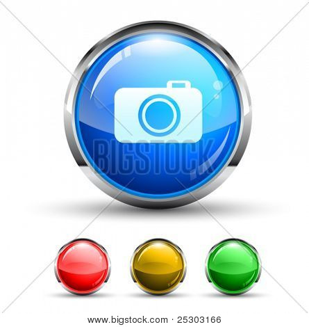 Camera Cristal Glossy Button with light reflection and Chromed ring. 4 Colours included.