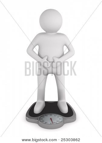 man on floor scales. Isolated 3D image