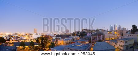 Los Angeles Downtown And China Town At Dusk Evening Panoramic