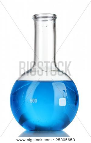 Test-tube with blue liquid isolated on white