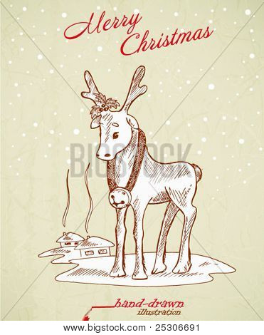 christmas deer - hand-drawn illustration