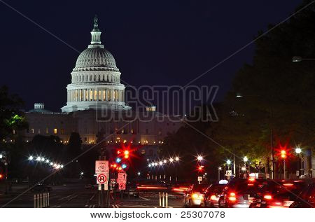Capitol building at night with street and car lights, Washington DC USA
