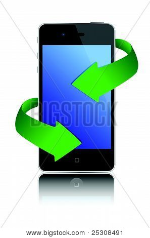 illustration, black mobile phone and green arrows design