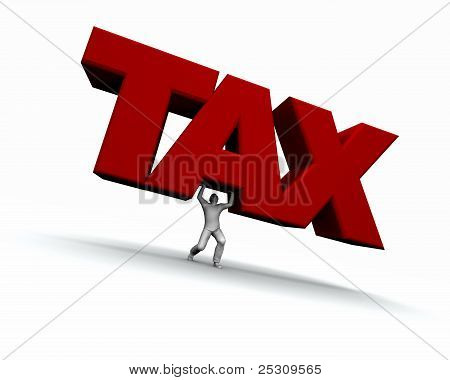 Man Lifting The Word Tax