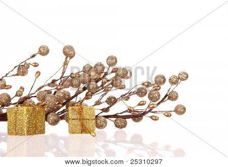 Christmas gold balls over white background