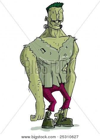 Cartoon Frankenstein Monster With Green Skin For Halloween