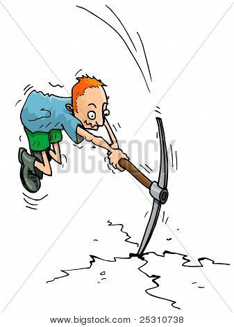 Cartoon Man With A Pick Axe