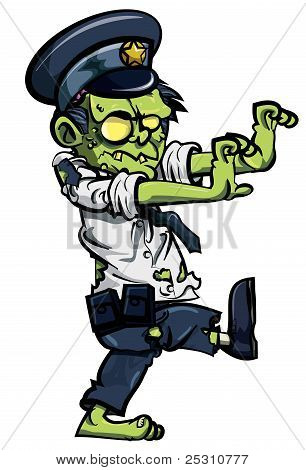 Cartoon zombie policeman