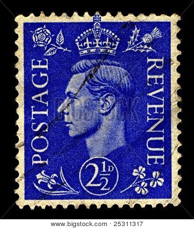 UK-CIRCA 1937:A stamp printed in United Kingdom shows image of George VI (Albert Frederick Arthur George) was King of the UK and the Dominions of the British Commonwealth, circa 1937.